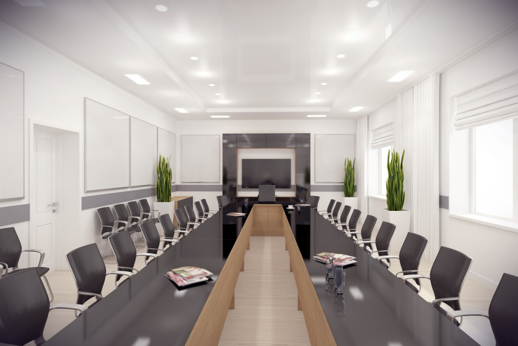 3d render of long conference hall in modern style with long black glass table